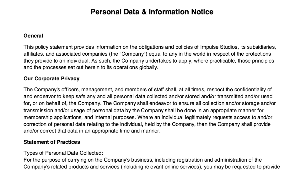 Personal Data & Information Policy
