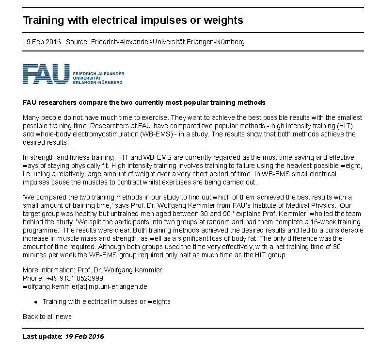 Impulse (EMS) vs Weight Training