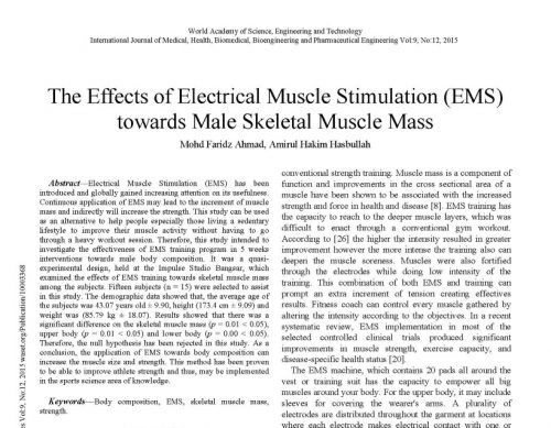 The Effects of Electrical Muscle Stimulation (EMS) towards Male Skeletal Muscle Mass
